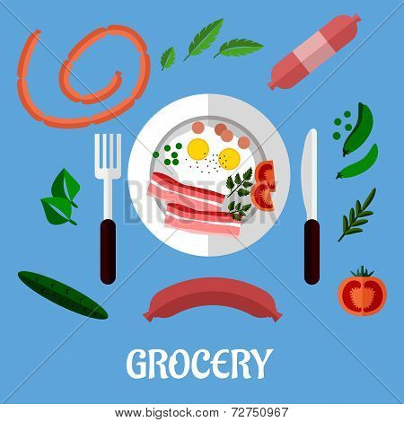 Breakfast with groceries flat design