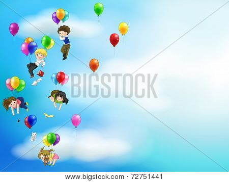 Cute Cartoon People And Children Floating In The Sky With Balloons Background