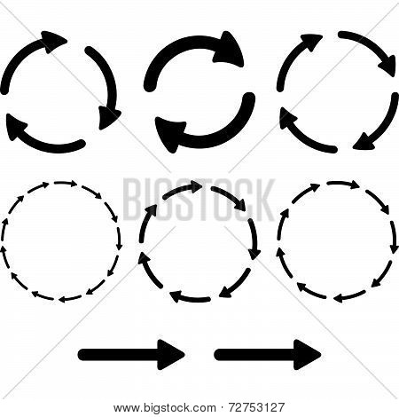 Arrow Pictogram Refresh Reload Rotation Loop Sign Set. Simple Color Web Icon On White Background.