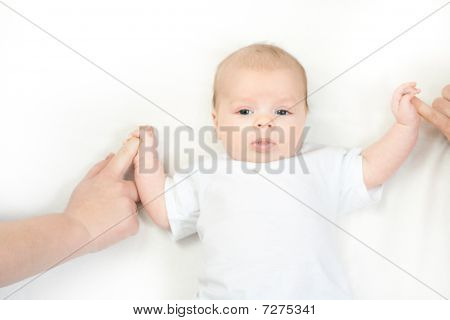 Happy Family - Baby On The Bed