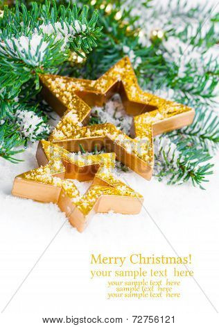 Golden Christmas Stars With Pine Branch And Snow, With Free Space For Your Text
