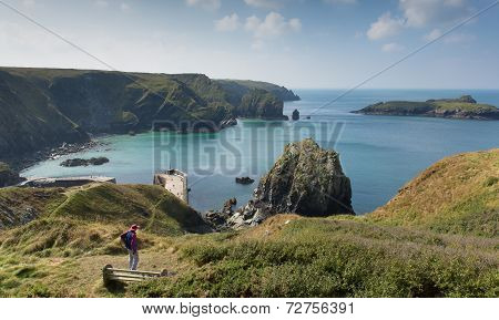 Mullion Cove Cornwall UK the Lizard peninsula Mounts Bay near Helston