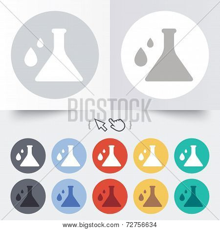 Chemistry sign icon. Bulb symbol with drops.