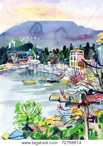 watercolor painting on paper of a bay is in the district