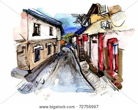 original hand draw sketchy and watercolor old street landscape