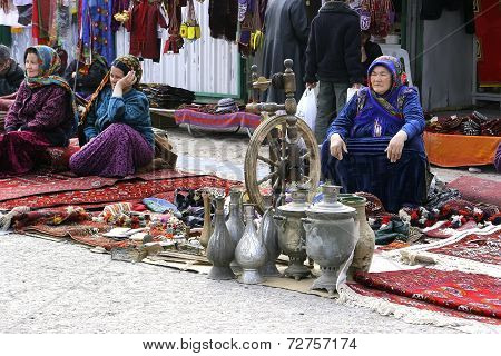 Ashgabat, Turkmenistan - February 26.  Three Unidentified  Asian Women On Oriental Bazaar. Asian Wom
