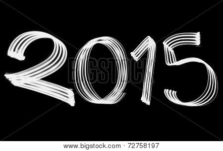 New Year 2015 Blurred White Lights