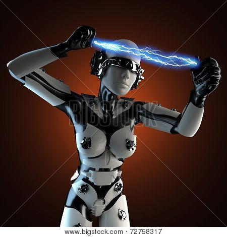 Woman Robot Of Steel And White Plastic With Lightning