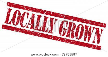 Locally Grown Red Grungy Stamp On White Background