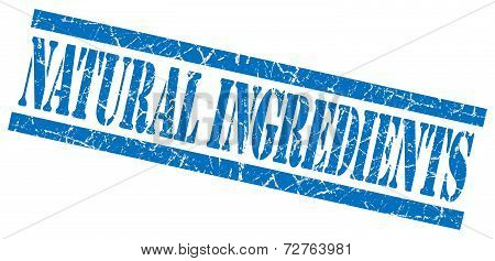 Natural Ingredients Blue Grungy Stamp On White Background