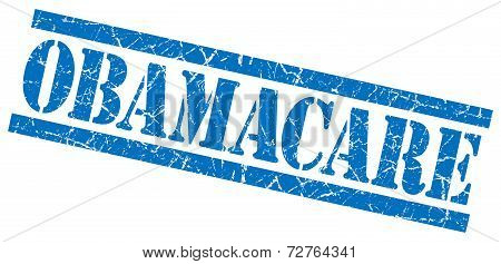 Obamacare Blue Grungy Stamp On White Background