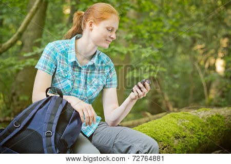 Active Tourist With Gps Navigation In A Forest