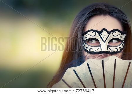 Young Woman with Mask and Fan
