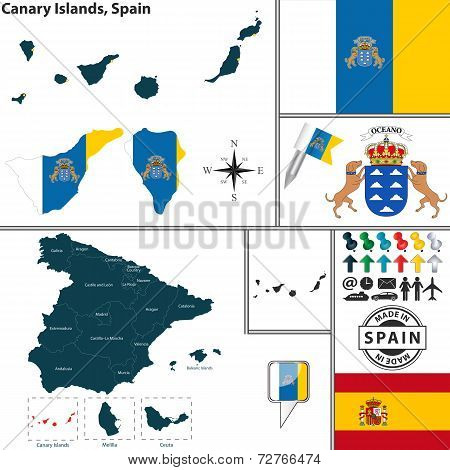 Map Of Canary Islands, Spain