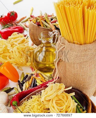 Italian Pasta With Fresh Vegetables And Olive Oil