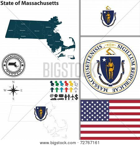 Map Of State Massachusetts, Usa