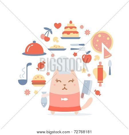 Character Chef In A Chef's Hat Colorful Flat Composition Of Prof
