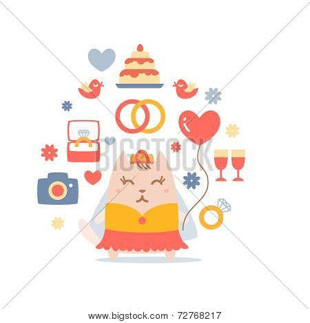 Character Bride In A Wedding Dress With Veil Colorful Flat Compo