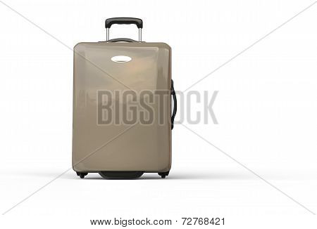 Neutral brown polycarbonate travel baggage suitcase