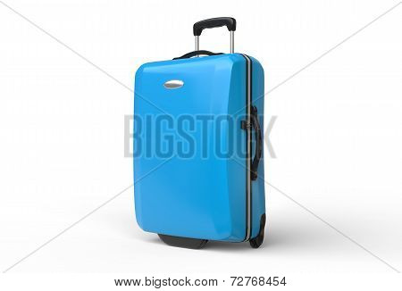 Blue polycarbonate travel baggage suitcase on white background