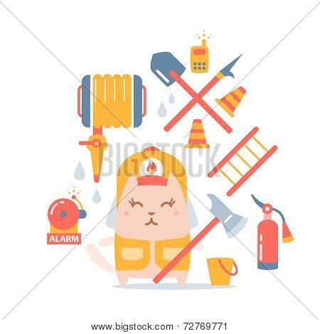 Character Firefighter In Coveralls And Helmet Colorful Flat Comp
