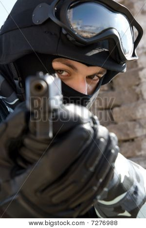 Soldier With A Pistol