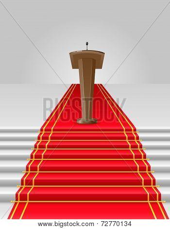 Red Carpet To Tribune Vector Illustration