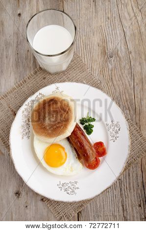 Sausage And Fried Egg On A Plate