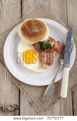 Fried Egg And Grilled Bacon