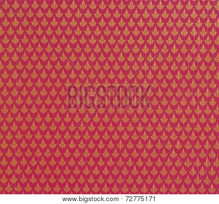 Pattern Texture Of General Traditional Thai Style Native Red Fabric Weave