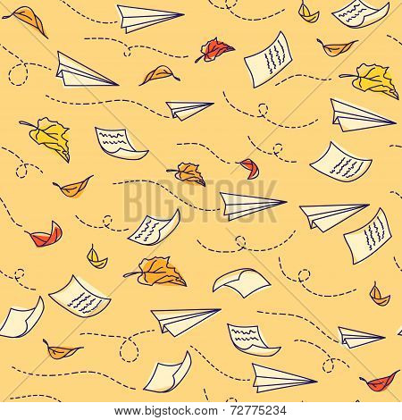 Seamless pattern with airplanes. Back to school