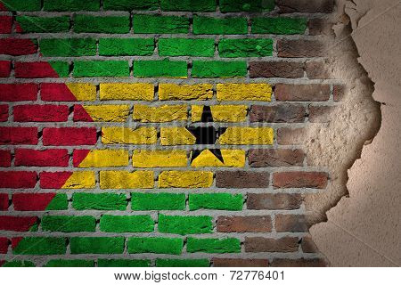 Dark Brick Wall With Plaster - Sao Tome And Principe