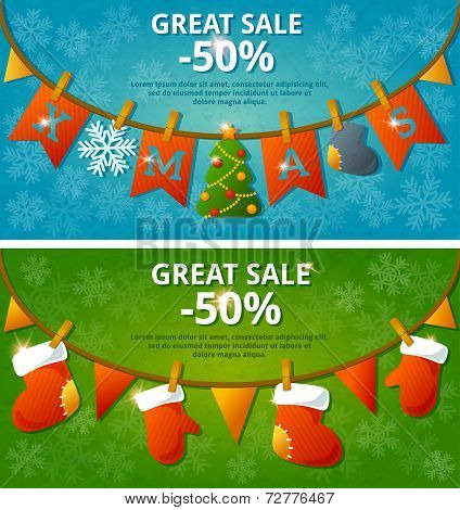 Sale banners with garlands. Set. Vector illustration.
