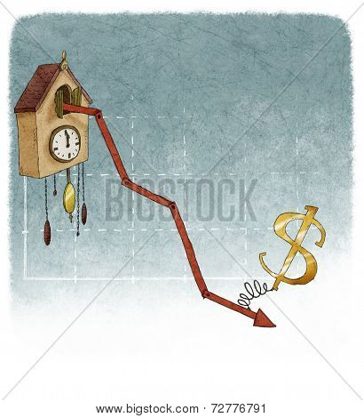 dollar sign on financial graph