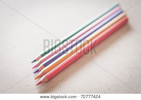 Closeup Colorful Pencils On Wooden Background