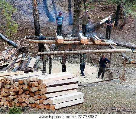 Men Cutting Timber By Primitive Method In Western Nepal