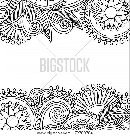 vintage floral ornamental black and white card announcement