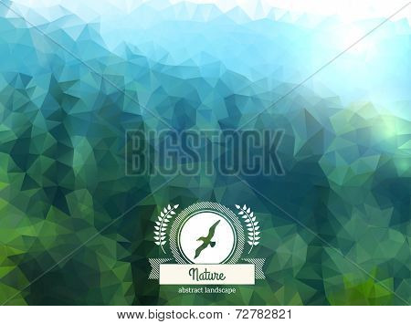 Vector green landscape with round badge.