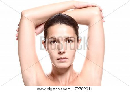 Close Up Of Woman With Arms Above Head