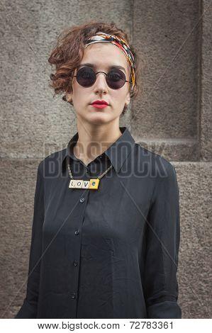Woman Outside Trussardi Fashion Shows Building For Milan Women's Fashion Week 2014