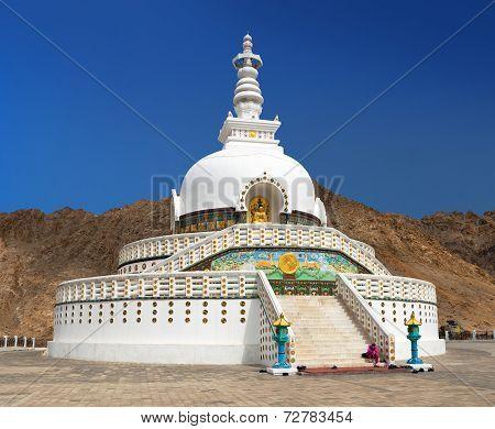 Tall Shanti Stupa Near Leh, Ladakh, India