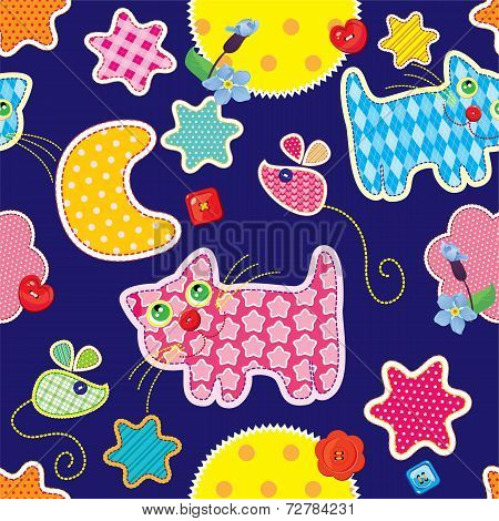 Seamless Pattern - Sweet Dreams - Cat, Mouse, Stars And Moon Are Made Of Fabric  - Childish Backgrou