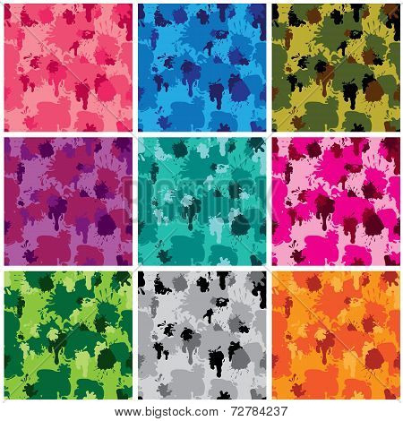 Set Of Camouflage Fabric Patterns - Different Colors. Seamless Backgrounds In Grunge Style. Ready To