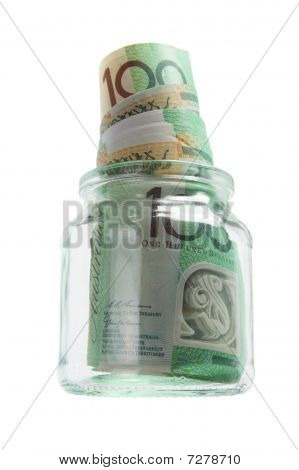 Banknotes In Glass Jar
