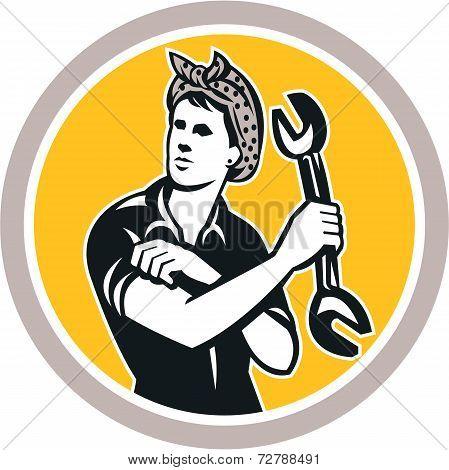 Female Mechanic Wrench Circle Retro