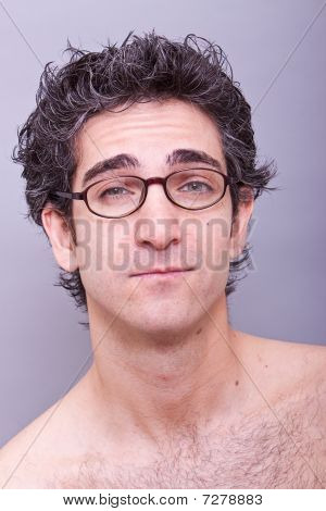 Goofy Looking Young Man In Eyeglasses