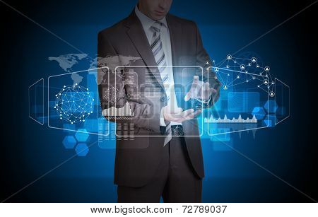 Businessman hold empty copy space. Transparent rectangles, network and world map
