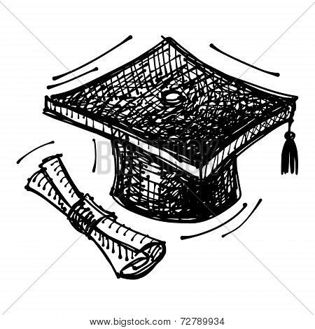 black sketch drawing of cap of master's degree