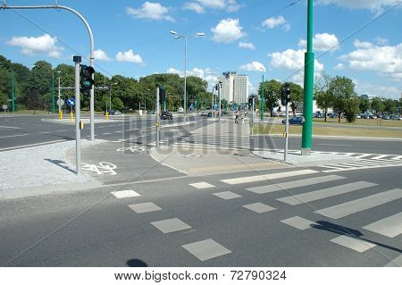 Walkway And Bicycle Path On Street In Poznan, Poland