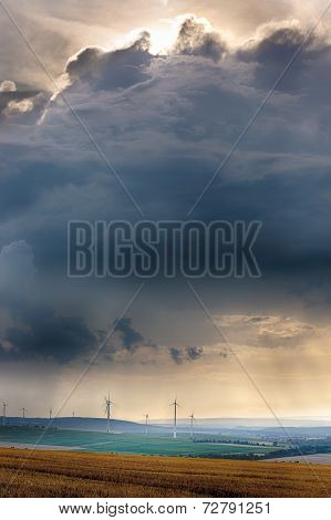 Wind generators with clouds near Alzey, Pfalz, Germany